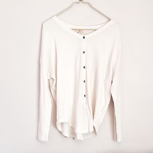 STYLE&CO waffle knit button down long sleeve sz XL